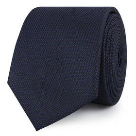 Navy Blue Oxford Stitch Skinny Tie