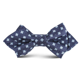 Navy Blue Pattern Kids Diamond Bow Tie