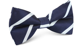 Navy Blue Pencil Stripe Bow Tie