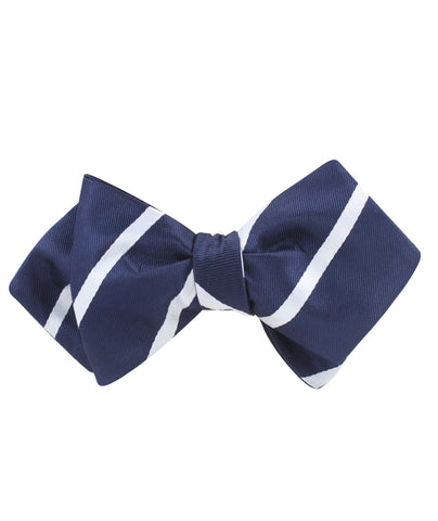 Navy Blue Pencil Stripe Diamond Self Bow Tie