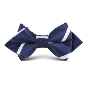 Navy Blue Pencil Stripe Kids Diamond Bow Tie