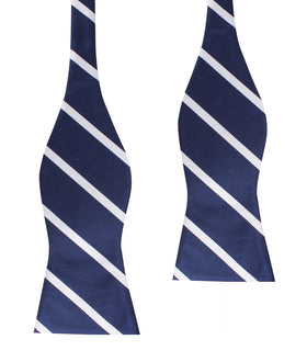 Navy Blue Pencil Stripe Self Bow Tie