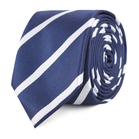 Navy Blue Pencil Stripe Skinny Tie