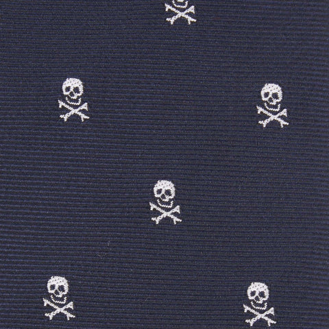 Navy Blue Pirate Skull Bow Tie