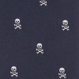 Navy Blue Pirate Skull Fabric Skinny Tie M099