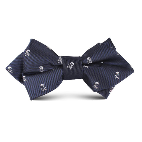 Navy Blue Pirate Skull Kids Diamond Bow Tie