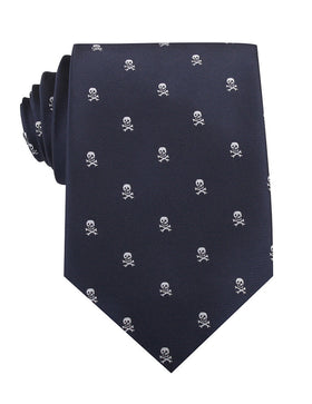 Navy Blue Pirate Skull Necktie
