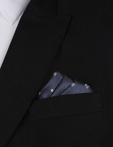 Navy Blue Pirate Skull Pocket Square