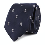 Navy Blue Pirate Skull Skinny Tie Front Roll