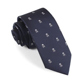 Navy Blue Pirate Skull Skinny Tie