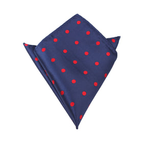 Navy Blue Pocket Square with Red Polka Dots