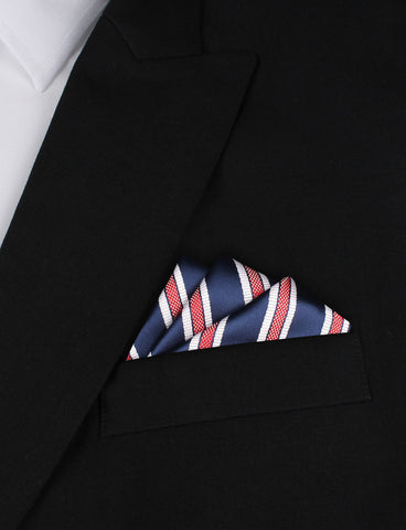 Navy Blue Pocket Square with Red Stripes
