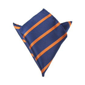 Navy Blue Pocket Square with Striped Brown