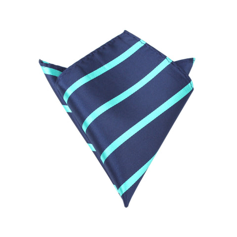 Navy Blue Pocket Square with Striped Aqua Green