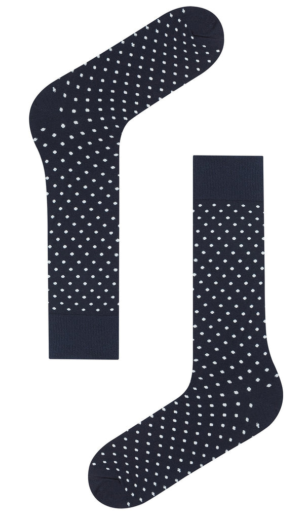 Navy Blue Polka Dots Cotton-Blend Socks