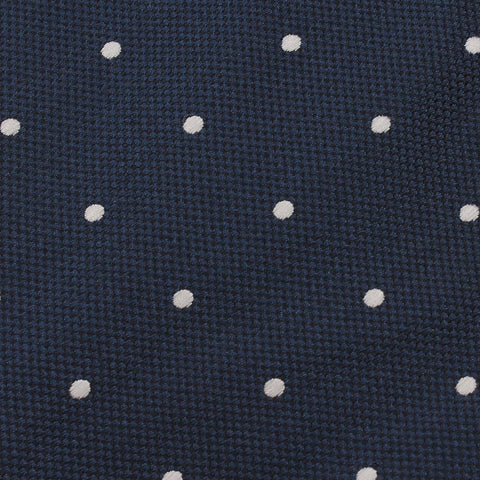 Navy Blue with White Polkadots Textured Self Tie Diamond Tip Bow Tie