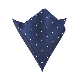 Navy Blue Polka Dots Pocket Square
