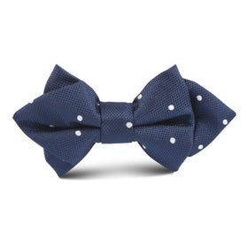 Navy Blue Polkadot Textured Kids Diamond Bow Tie