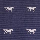 Navy Blue Race Horse Fabric Self Tie Diamond Tip Bow Tie M106