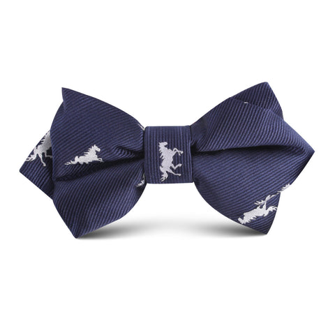 Navy Blue Race Horse Kids Diamond Bow Tie