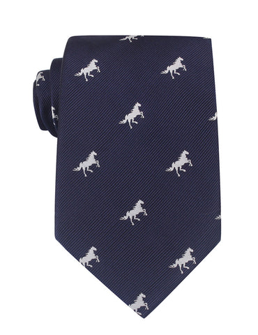 Navy Blue Race Horse Necktie