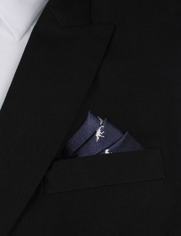 Navy Blue Race Horse Pocket Square