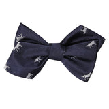 Navy Blue Race Horse Self Tie Diamond Tip Bow Tie 2