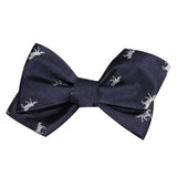 Navy Blue Race Horse Self Tie Diamond Tip Bow Tie 1