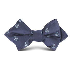 Navy Blue Sail Anchor Kids Diamond Bow Tie