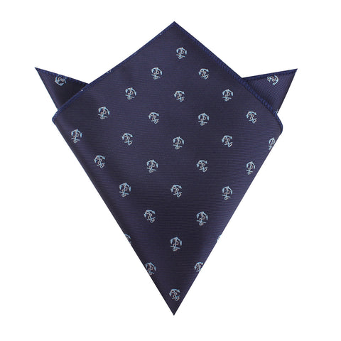Navy Blue Sail Anchor Pocket Square