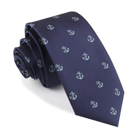 Navy Blue Sail Anchor Skinny Tie
