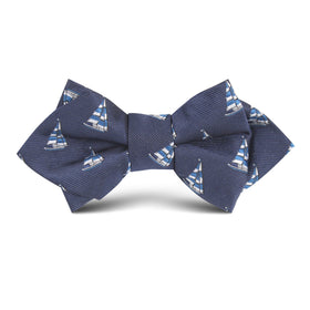 Navy Blue Sailor Boat Kids Diamond Bow Tie