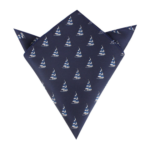 Navy Blue Sailor Boat Pocket Square
