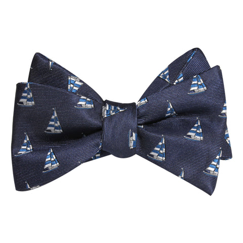 Navy Blue Sailor Boat Self Tie Bow Tie