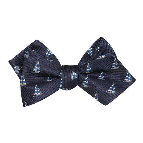 Navy Blue Sailor Boat Self Tie Diamond Tip Bow Tie