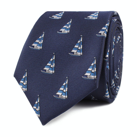 Navy Blue Sailor Boat Skinny Tie