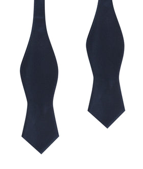 Navy Blue Self Tie Diamond Tip Bow Tie