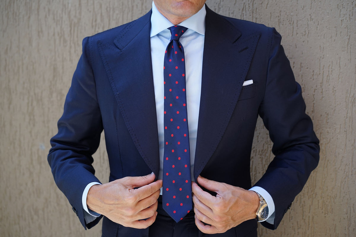 Navy Blue Skinny Tie with Red Polka Dots