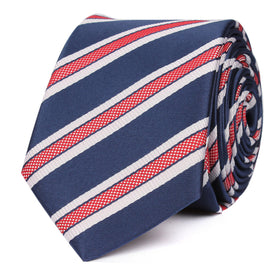 Navy Blue Skinny Tie with Red Stripes