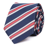 Navy Blue Skinny Tie with Red Stripes OTAA roll