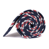 Navy Blue Skinny Tie with Red Stripes Side Roll