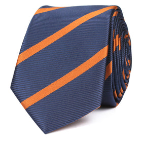 Navy Blue Skinny Tie with Striped Brown