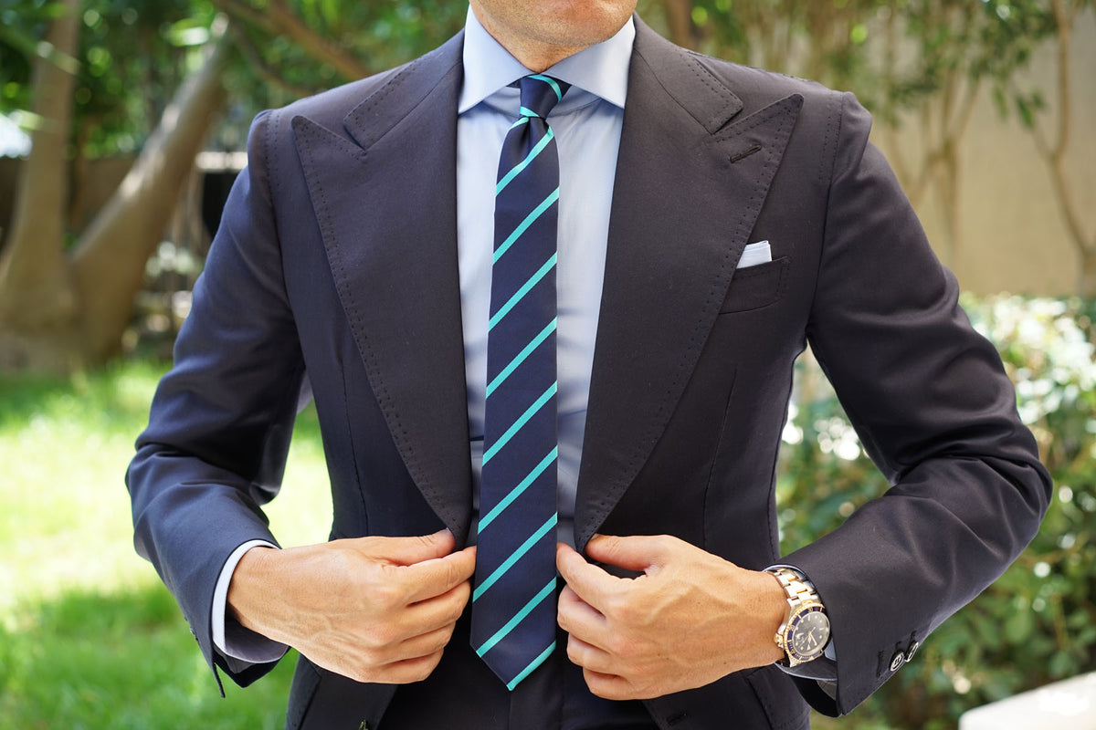 Navy Blue Skinny Tie with Striped Light Blue