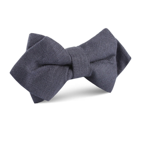 Navy Blue Slub Linen Diamond Bow Tie