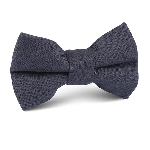 Navy Blue Slub Linen Kids Bow Tie