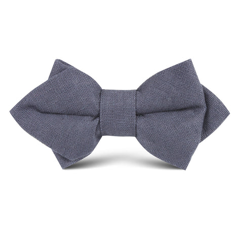 Navy Blue Slub Linen Kids Diamond Bow Tie