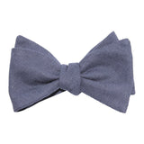 Navy Blue Slub Linen Self Tie Bow Tie 1