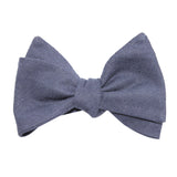 Navy Blue Slub Linen Self Tie Bow Tie 2