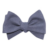 Navy Blue Slub Linen Self Tie Bow Tie 3