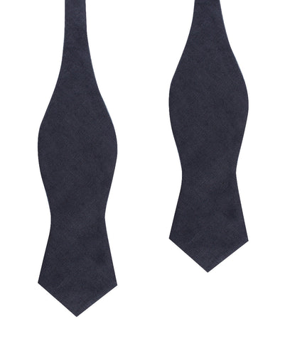 Navy Blue Slub Linen Self Tie Diamond Bow Tie